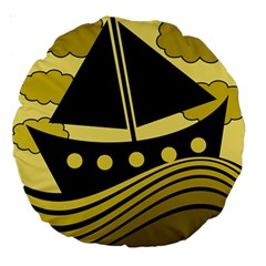 Boat - yellow Large 18  Premium Round Cushions