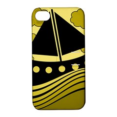 Boat - yellow Apple iPhone 4/4S Hardshell Case with Stand