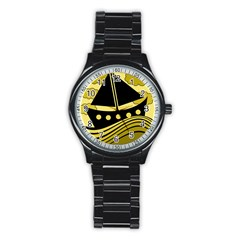 Boat - yellow Stainless Steel Round Watch