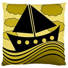 Boat - yellow Standard Flano Cushion Case (One Side)