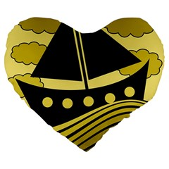 Boat - yellow Large 19  Premium Flano Heart Shape Cushions