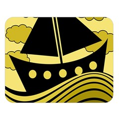Boat - yellow Double Sided Flano Blanket (Large)