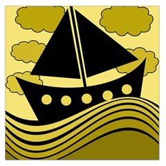 Boat - yellow Large Satin Scarf (Square)