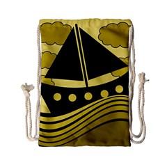 Boat - yellow Drawstring Bag (Small)