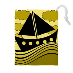 Boat - yellow Drawstring Pouches (Extra Large)