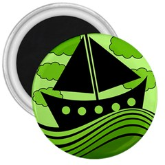 Boat - green 3  Magnets