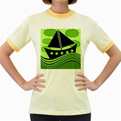 Boat - green Women s Fitted Ringer T-Shirts