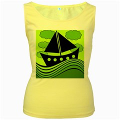 Boat - green Women s Yellow Tank Top