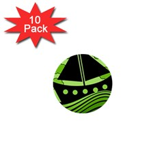 Boat - green 1  Mini Buttons (10 pack)