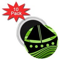 Boat - green 1.75  Magnets (10 pack)