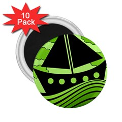 Boat - green 2.25  Magnets (10 pack)