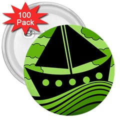 Boat - green 3  Buttons (100 pack)