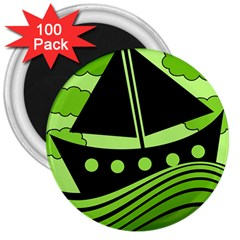 Boat - green 3  Magnets (100 pack)