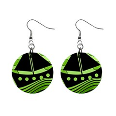 Boat - green Mini Button Earrings