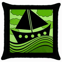 Boat - green Throw Pillow Case (Black)