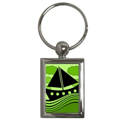 Boat - green Key Chains (Rectangle)