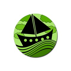 Boat - green Rubber Coaster (Round)