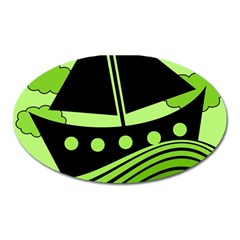 Boat - green Oval Magnet