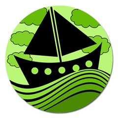 Boat - green Magnet 5  (Round)