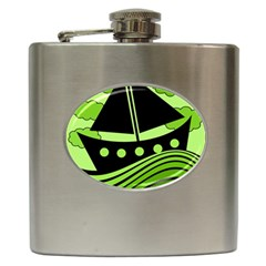 Boat - green Hip Flask (6 oz)