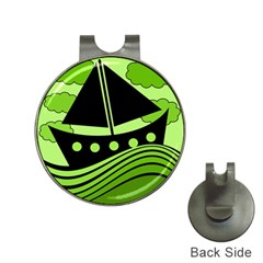 Boat - green Hat Clips with Golf Markers