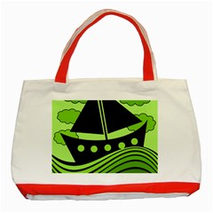 Boat - green Classic Tote Bag (Red)