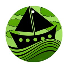 Boat - green Round Ornament (Two Sides)