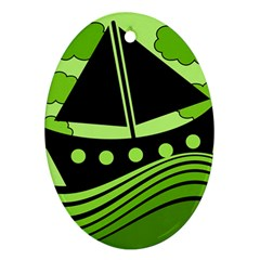 Boat - green Oval Ornament (Two Sides)