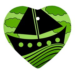 Boat - green Heart Ornament (2 Sides)