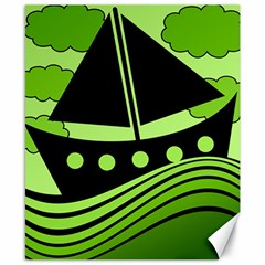 Boat - green Canvas 8  x 10