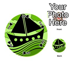 Boat - green Playing Cards 54 (Round)