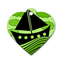 Boat - green Dog Tag Heart (One Side)