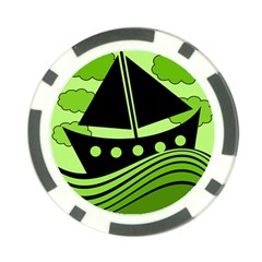 Boat - green Poker Chip Card Guards (10 pack)