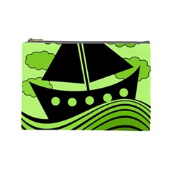 Boat - green Cosmetic Bag (Large)