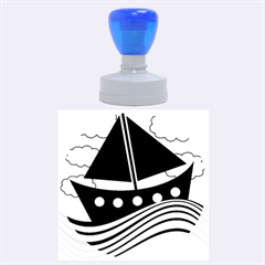Boat - green Rubber Round Stamps (Large)