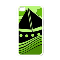 Boat - green Apple iPhone 4 Case (White)