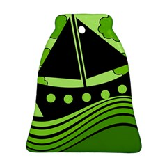 Boat - green Bell Ornament (2 Sides)