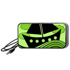 Boat - green Portable Speaker (Black)