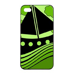 Boat - green Apple iPhone 4/4s Seamless Case (Black)