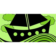 Boat - green YOU ARE INVITED 3D Greeting Card (8x4)