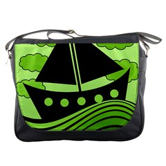 Boat - green Messenger Bags