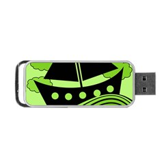 Boat - green Portable USB Flash (One Side)