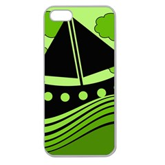 Boat - green Apple Seamless iPhone 5 Case (Clear)