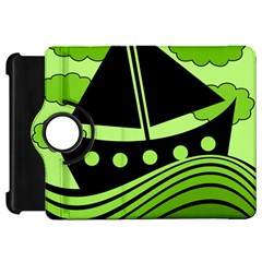 Boat - green Kindle Fire HD Flip 360 Case