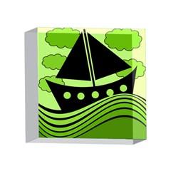 Boat - green 4 x 4  Acrylic Photo Blocks