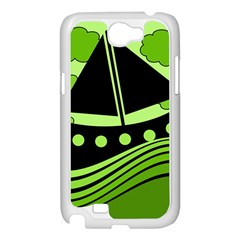 Boat - green Samsung Galaxy Note 2 Case (White)