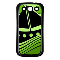 Boat - green Samsung Galaxy S3 Back Case (Black)