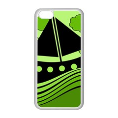 Boat - green Apple iPhone 5C Seamless Case (White)