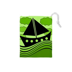 Boat - green Drawstring Pouches (Small)