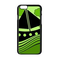 Boat - green Apple iPhone 6/6S Black Enamel Case
